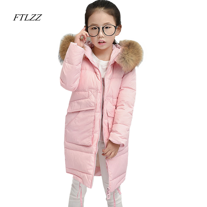 Baby Girls Down Jacket Coat Winter Fashion Large Raccoon Fur Hooded Collar Children Outerwear Warm Parkas Coats Snow Jackets 2017 new baby girls boys winter coats jacket children down outerwear warm thick outdoor kids fur collar snow proof coat parkas