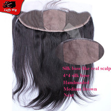 Top Brazilian Straight Silk Base Lace Frontal 13*4 Lace Frontal Closure Bleached Knots Free Side Middle Three Human Hair Frontal