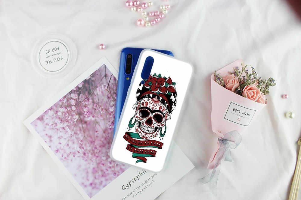 Style rétro fleur crâne housse de protection souple TPU téléphone pour Xiao mi 9 8 mi 6 5X lite se A1 A2 pour rouge mi Note 7 6 5 Go coque