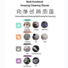 A Pair Magic Silicone Scrubber Rubber Cleaning Gloves Dusting Dish Washing Pet Care Grooming Hair