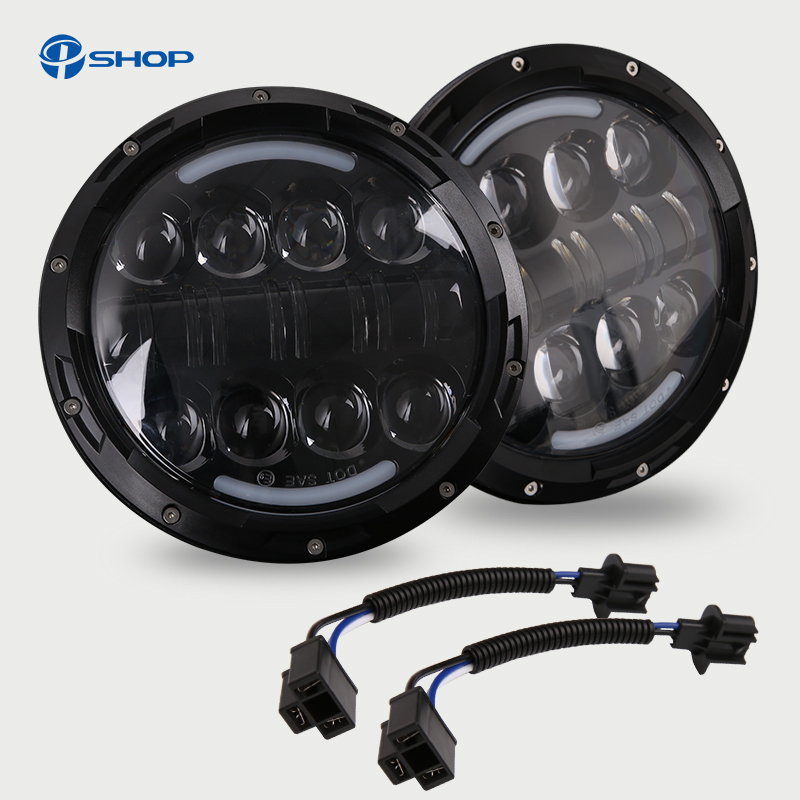 2PC Black Face 7 Inch 80W Round Headlight For Jeep Wrangler 97-15 7 LED Headlight Headlamp With High Low Beam H4 H13 Bulbs 2pcs 7 inch round led headlight with white amber lighting color drl 7 high low beam headlamp for jeep wrangler