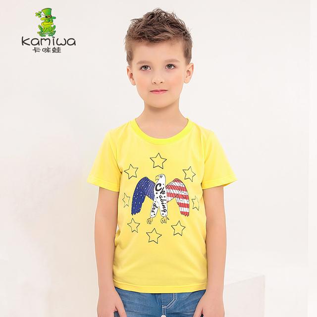 KAMIWA 2016 verano estilo del águila de la historieta impresa algodón de los muchachos camisetas Adolescente corta Camisetas top de la Camiseta ropa Para Niños kids ropa