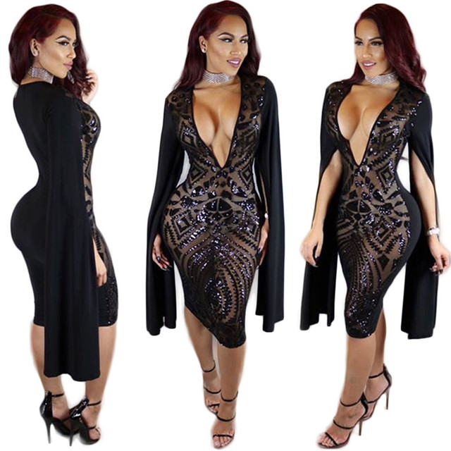 Sequin Dress Women Sexy Plunge Deep V Neck Split Long Sleeve Glitter  Bodycon Party Dresses Night a349673abcc8