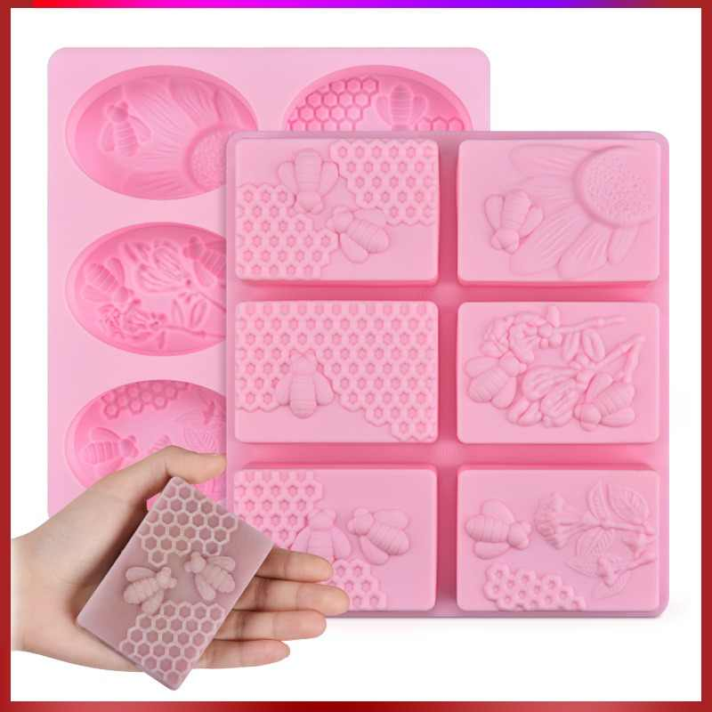 SJ 1pc Honey Bee Silicone Soap Mold diy Handmade Craft 3d Soap Mold Silicone Rectangular Oval 6 Forms Soap Molds For Soap Making