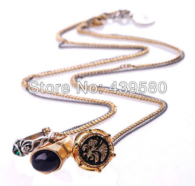 Xl0090 wholesale long chain friendly gold color handsome 3 ringgs xl0090 wholesale long chain friendly gold color handsome 3 ringgs unique jet pendant necklaces aloadofball Image collections
