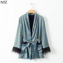 NSZ Femmes Dot Imprimer Kimono Manteau Automne Gland Veste À Manches  Longues Cardigan Manteau avec Ceinture Survêtement a38c77cc914