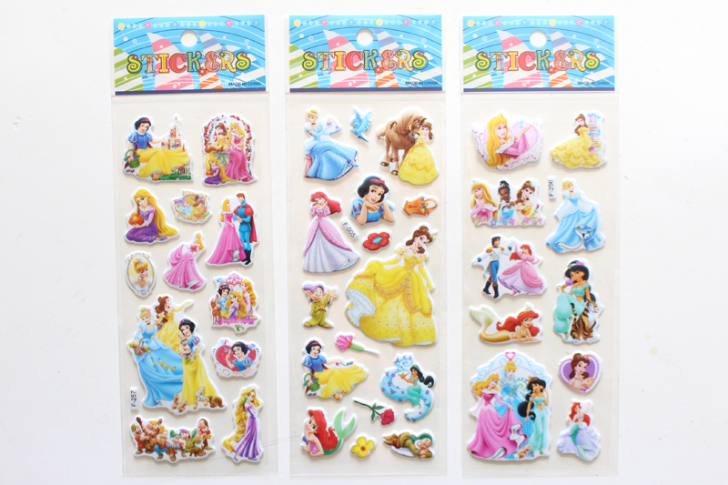 6 Sheets/set Cartoon Snow White Cute Stickers For Kids Rooms Home Decor Diary Notebook Label Decoration Toy Princess 3D Stickers