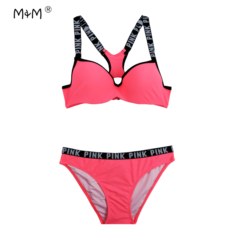 M&M Ladies Sports Swimsuit 2017 New Strappy Bikini Solid Bordered Girl Swimming Suit Push Up Body Suit Underwire Swimwear Women 2017 summer bikini suit fitness body wading sports swimsuit lady brand straight solid color tight swimsuit 40