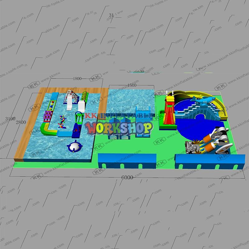 Customized OEM ODM Factory Inflatable Ground Water Park Inflatable Theme Park Project
