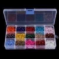 15 Kolory Mieszane Kolor 4mm 6mm 8mm Modne Okrągłe Szkła Kryształowego Koraliki Spacer Koraliki Kwarcowy Box Set dla sprzedaży Hurtowej Biżuterii