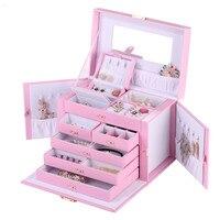 Màu hồng Tím Trắng Đen Nâu Hộp Đồ Trang Sức Đồng Hồ Trang Sức lưu trữ Hợp Gift Box Túi Du Lịch Nhẫn Gối Earring Display ZG245