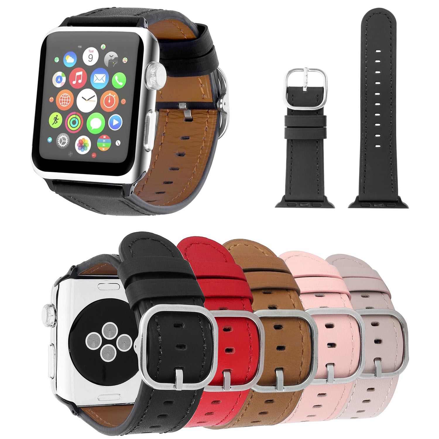For Apple Watch Series 3 Genuine Leather Band Classic