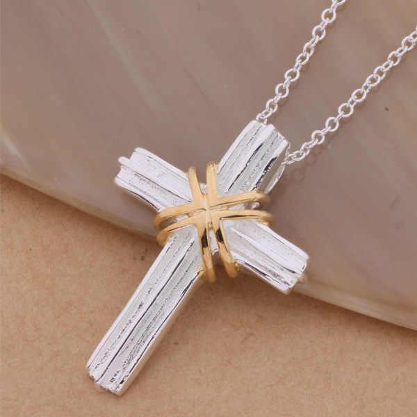 AN304 925 stearling srebrny naszyjnik ze srebra próby 925 modny wisiorek złoty krzyż/bbiajspa amgajdna