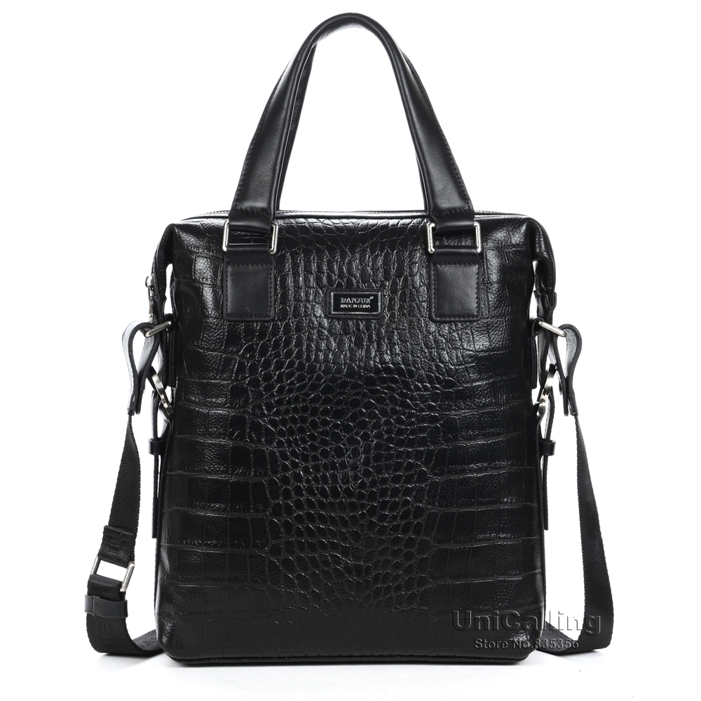 ФОТО Hot leisure business Top Layer Cowhide Genuine Leather Alligator Pattern men handbag crocodile pattern men leather crossbody bag
