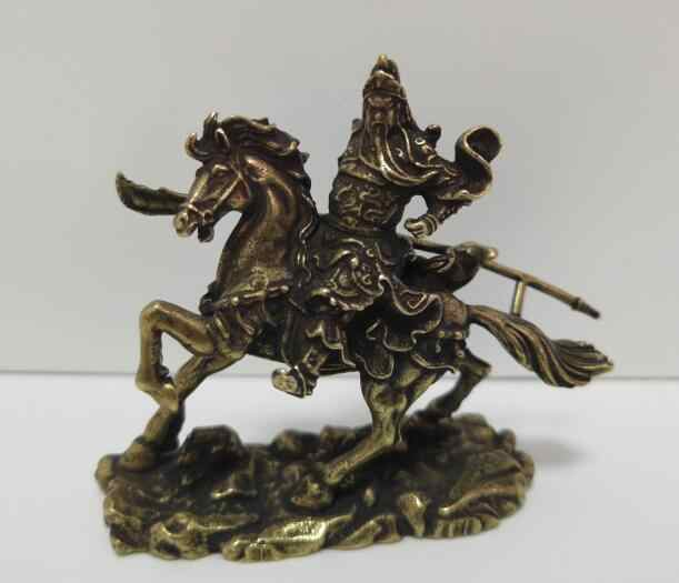 Chinese pure brass Riding horse guan gong small statue