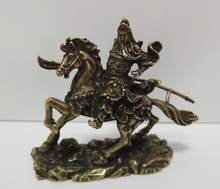 Chinese pure brass Riding horse guan gong small statue(China)