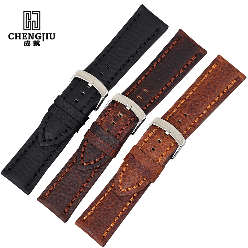Genuine Leather Watchbands For Tudor/ROLEX/Panerai/Omega Watches Men Watch Straps Retro Watch Band For Male Clock Saat Kordonu