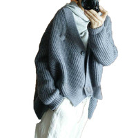 Brand cashmere grey cardigan v neck thickened bat coat sweater cashmere sweater women lazy wind loose jacket