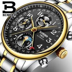 Szwajcaria BINGER mężczyzna zegarków luksusowych marek wielu funkcji faza księżyca sapphire kalendarz mechaniczne zegarki wodoodporny B 603 8 4 w Zegarki mechaniczne od Zegarki na