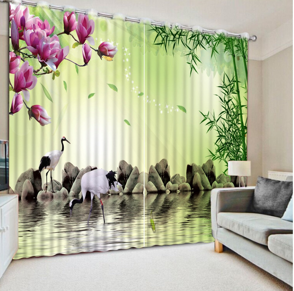 Home Bedroom Decoration Custom Curtain 3D Curtains Bamboo Pink Flower Stone Bird Blackout Shade Window CurtainsHome Bedroom Decoration Custom Curtain 3D Curtains Bamboo Pink Flower Stone Bird Blackout Shade Window Curtains