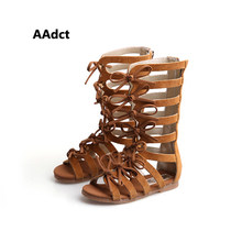 00a66df99c8554 Enfants chaussures D'été bottes Haute-top mode filles Romaines sandales  enfants gladiateur sandales