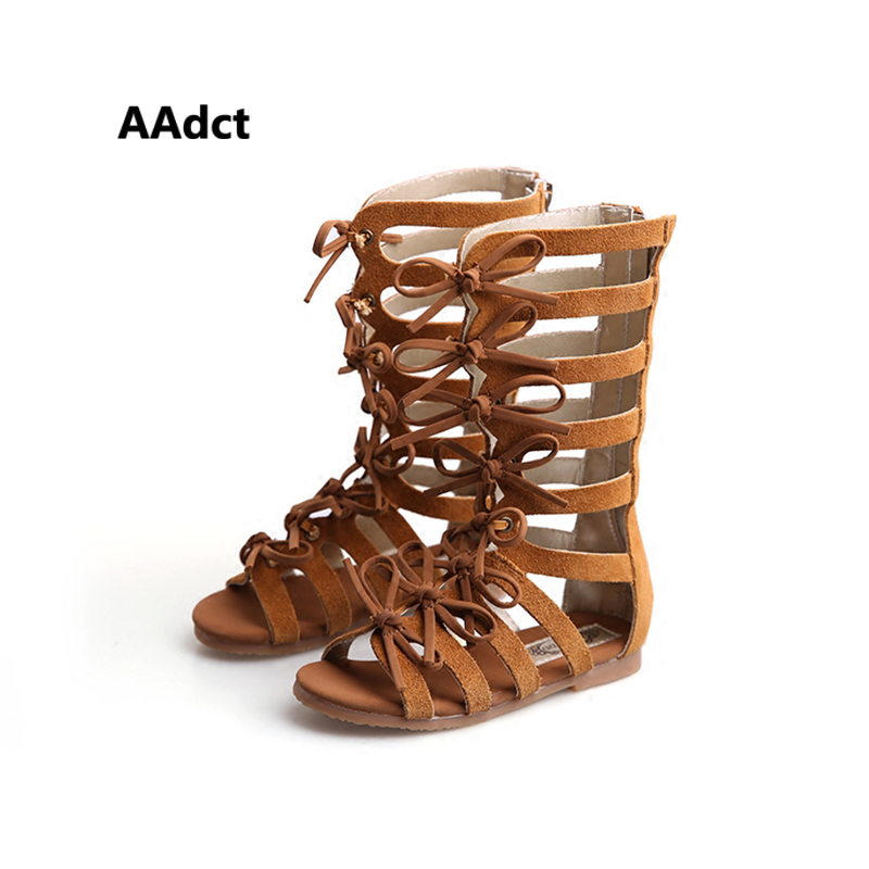 bērnu apavi Vasaras zābaki High-top modes romiešu meitenes sandales bērnu gladiatoru sandales toddler baby sandals Zīmols augstas kvalitātes