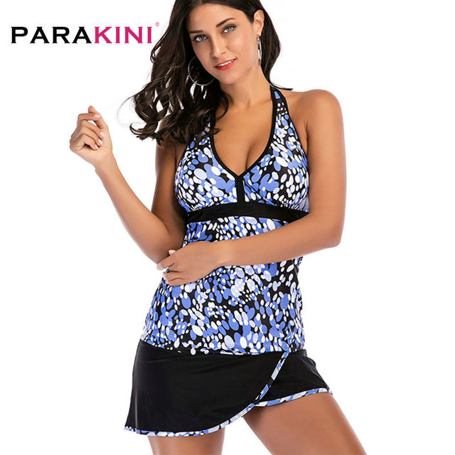 ab506b284fdb9 PARAKINI 2018 Plus Size Tankini Halter Swimwear V-neck Tankini Women Print  Skirt Bathing Suit Swimsuit Two Piece Swimming Suit