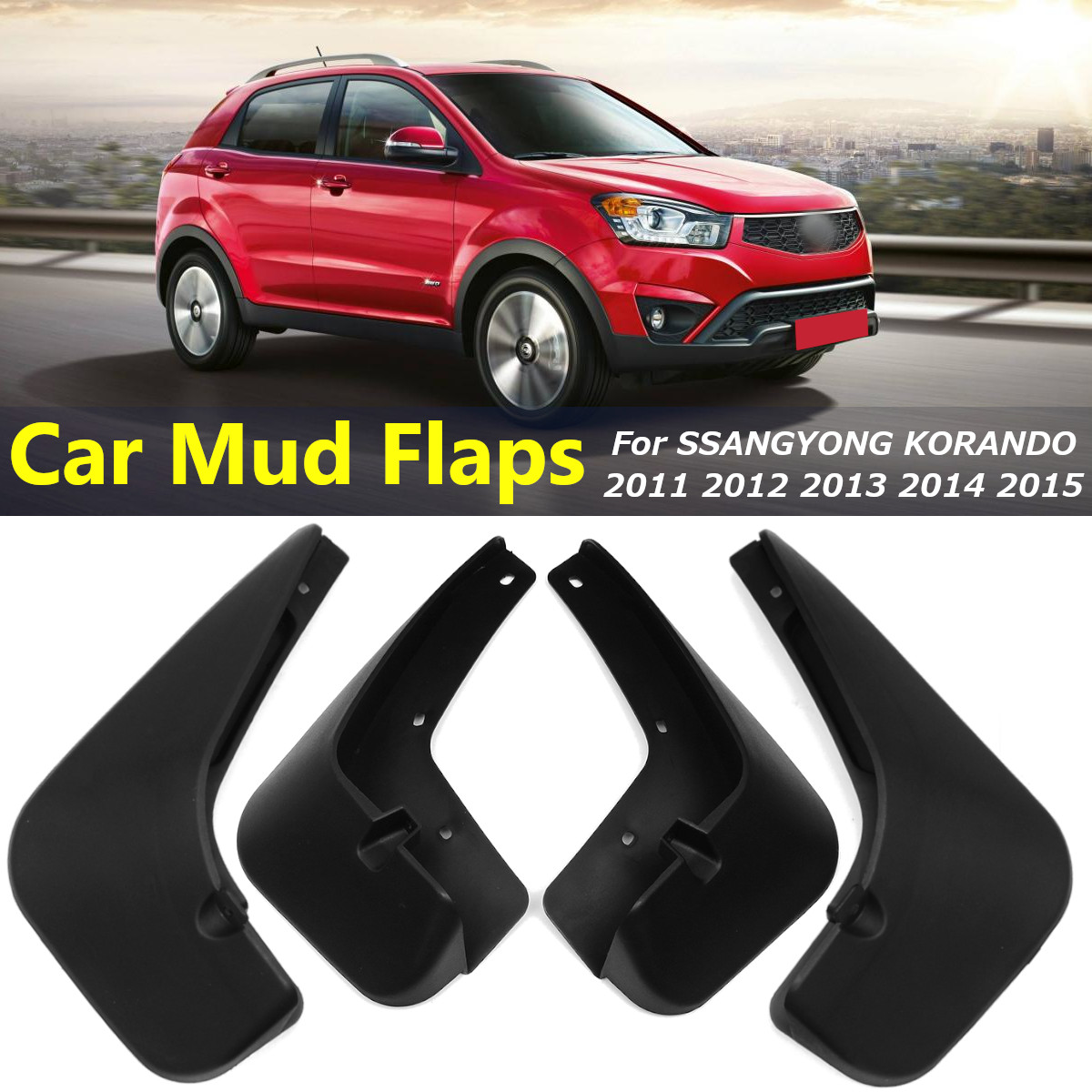 4pcs Car Accessories Fender Mud Flaps Splash Guards Mudguards Mudflaps for SsangYong KORANDO ACTYON C200 2011-2015 image