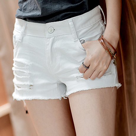 36cf642914 Cowboy summer style solid color white ripped hole denim shorts for women  Mid waist jeans short feminino pantalones cortos mujer