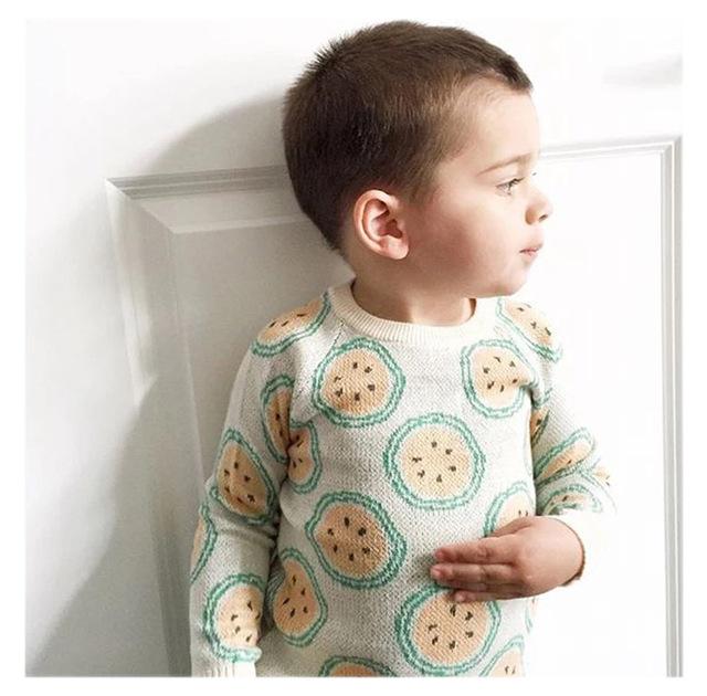 Bebé Suéter Niños Suéter Del Algodón Del Niño Del Otoño de Los Niños Ropa de Niños y Niñas Kintted naranja chaqueta de punto