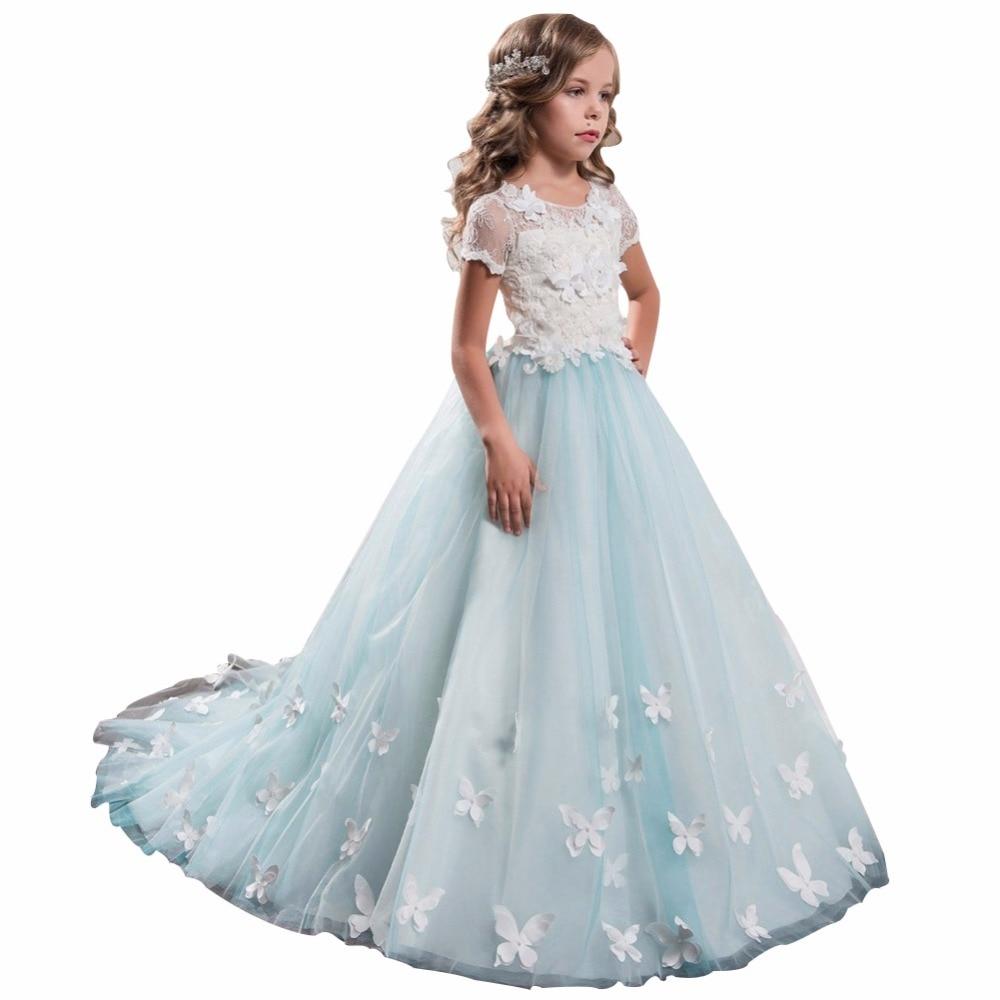 ZYLLGF Bridal Fluffy Short Sleeves   Girls     Flower     Girl     Dress   2017 Elegant   Girl   Pageant   Dress   Kids Party   Dress   With   Flowers   FP42