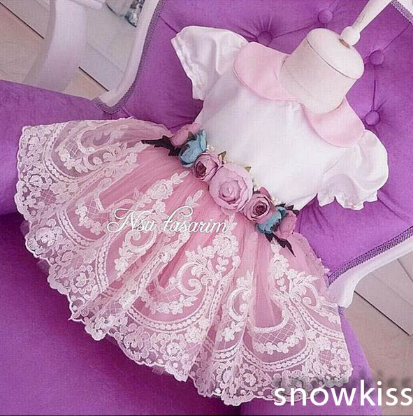 New 3D Flowers Lace Knee-Length flower girl dresses with Bow Short Sleeves baby Birthday Party Dress wedding occasion ball gowns new white ivory nice spaghetti straps sequined knee length a line flower girl dress beautiful square collar birthday party gowns