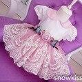 Nueva 3D Flores de Encaje de La Rodilla-Longitud de flores niña vestidos con Arco de Manga Corta bebé Fiesta de Cumpleaños de la boda vestidos de bola