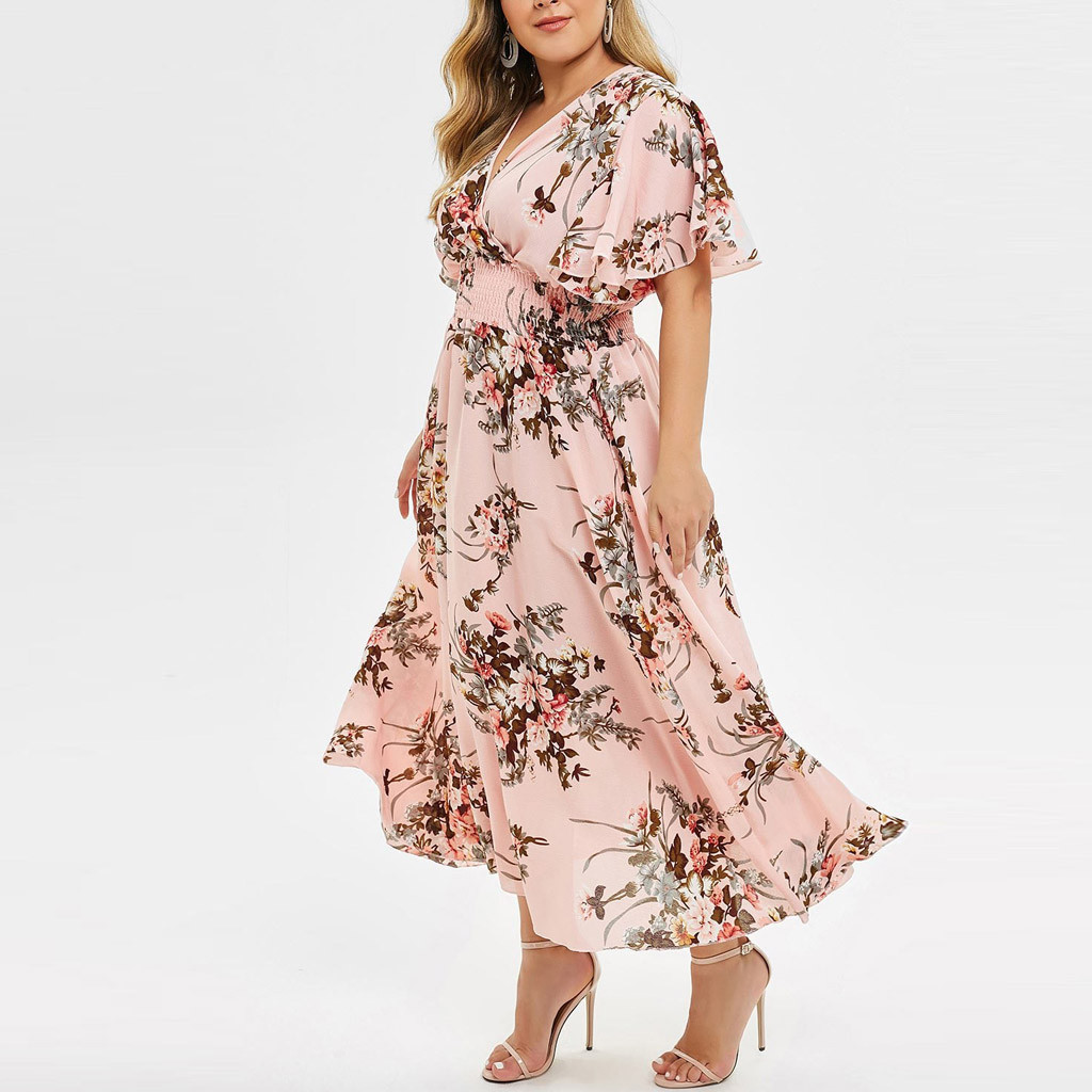 lus Size Floral Print V Neck Casual Dress Women Summer Short Sleeve A Line High