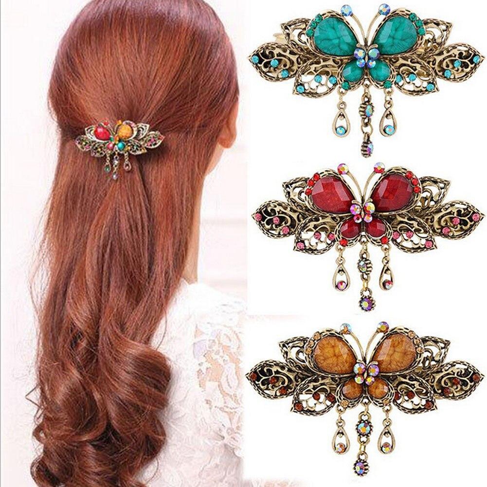 New Vintage Women Elegant gem Butterfly Flower Hairpins ...  Real