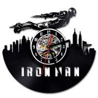 2018 Time limited Promotion Large Wall Clock Wandklok Feee Shipping Music Wall Clock Vinyl Retro Nostalgia Flying Iron Man