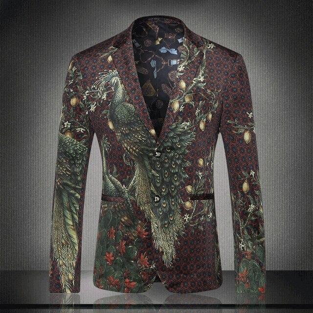 2016 Новый Осенние Цветы Печати Моды Костюм Британский Мужчина Павлин Печати Костюм Мужской Моды Пиджаки