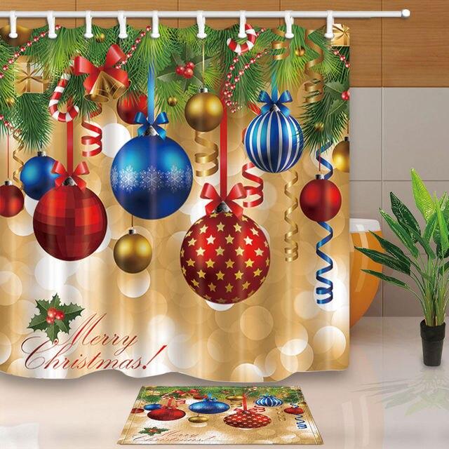 Xmas Baubles Ball And Christmas Tree Shower Curtain Bathroom Fabric 12hooks