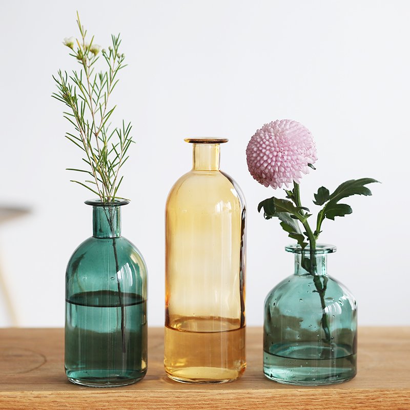 AliExpress & US $14.98  INS Small Mouth Glass Transparent Vase Nordic Wind Dried Flower Vases Japanese Home Wedding Decoration Colorful Flower Vases-in Vases from ...