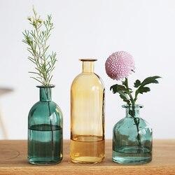 INS z małym otworem szklany przezroczysty wazon w stylu skandynawskim suszony kwiat wazony japoński dom dekoracje ślubne kolorowe wazony kwiatowe