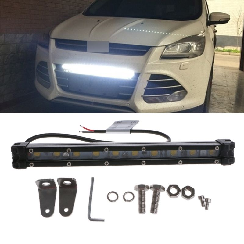 High Quality 1 Set 10W 10 LED Curved Flood Car Spot Work Light Lamp Bar For Offroad Truck Grille with Mounting Accessories