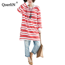 QoerliN Striped Sweatshirts Dress Women Letter Print Long Sleeve Summer Spring 2019 New High Street Dress Big Size Large Vestido недорго, оригинальная цена