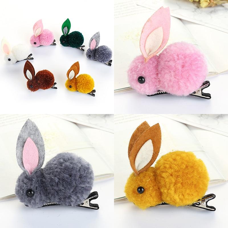 2Pcs/Set Korean Hair Clip Animals Rabbit Hairpins For Girls Hair Accessories 3D Plush Rabbit Ears Cute Kids Baby Hair Clips