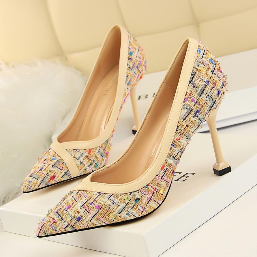 Dames 5 Travail Size34 Slip Femmes Pompes De Femme Groupes 39 9 Cm Noir kaki Chaussures Style Nouveau Pointu Mature Orteils Talons Hauts on RwqTRgO