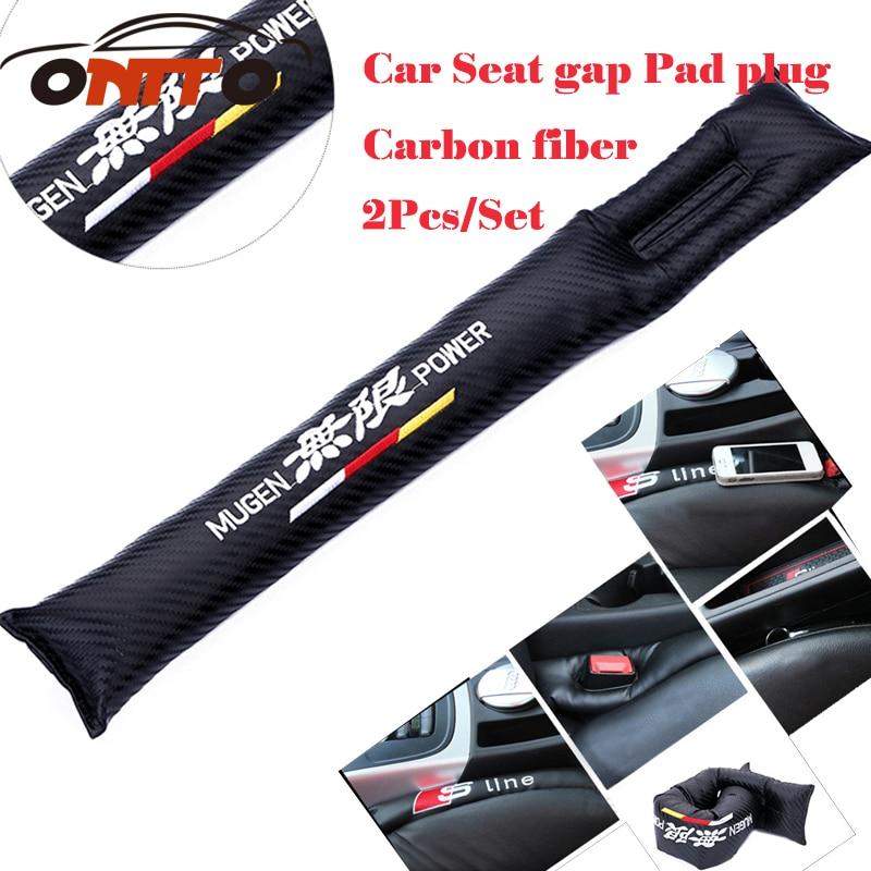 2Pcs/lot Carbon Fiber seat gaps padding For Mugen logo Seat Gaps Plug Crevice Inserts Protective Pad for honda [sa]takenaka frs2053 fiber line genuine 2pcs lot