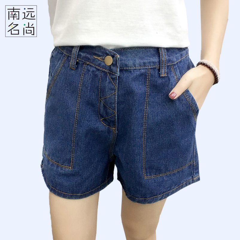 2017 fashion retro cotton high waist shorts dzhinsovki Womens Denim Shorts 5XL loose Harajuku blue jeans short