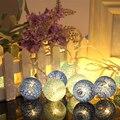 Хлопок Мяч Струнные Светильники, 20 LED 2.3 м Глобус Фея Шар Фонарь Рождественские Огни Строки для Открытый Отдых Сад двор Патио