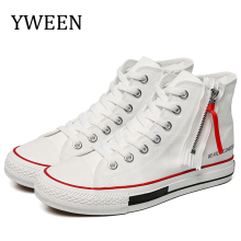 YWEEN new arrive high top sneakers men designer fashion High upper canvas shoes Men s Vulcanize Shoes