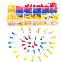 650Pcs/Set Insulated Cable Ring Crimp Terminals 0.5-4.0mm2 Assorted Electrical Wire Connectors Kit Red Blue Yellow 22-10AWG