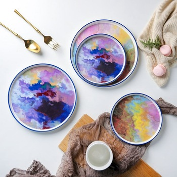 7 or 9 or 11 5 inch Watercolor painting dinner plate Wholesale Unique hand paint Dinnerware.jpg 350x350 - tabletop-and-bar, dinnerware - Renoir Collection Plates